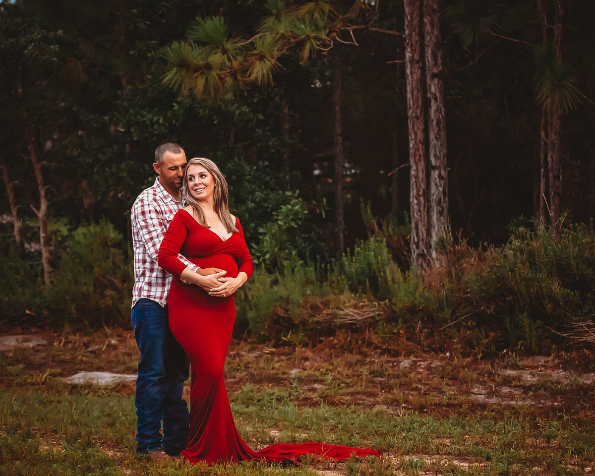 Red dress, couple, maternity session, Milton, Florida