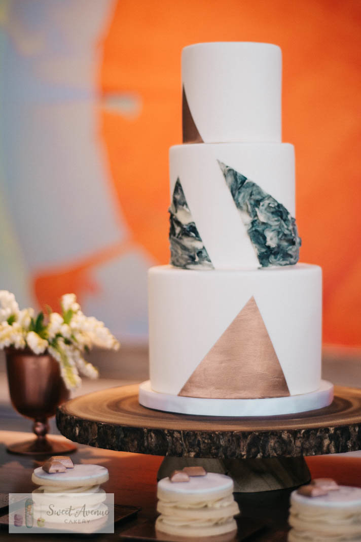 modern marble and rose gold wedding cake,  sweet table at 13th Street Winery