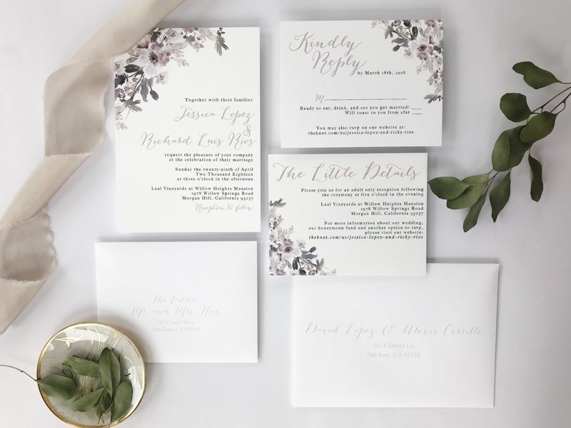Lavender and silver wedding invitation suite