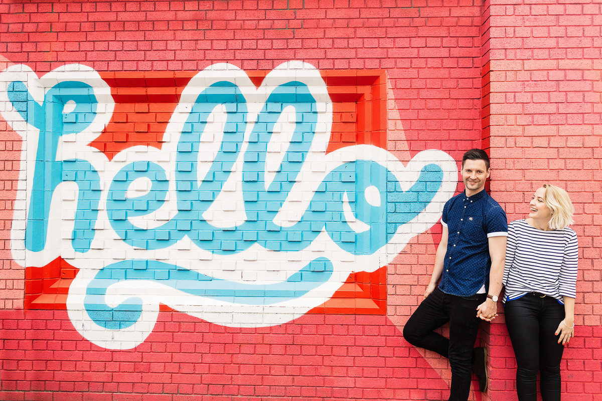 Colourful and quirky engagement photos in Leeds
