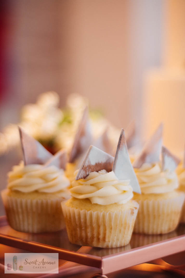 modern marble and rose gold cupcakes,  sweet table at 13th Street Winery