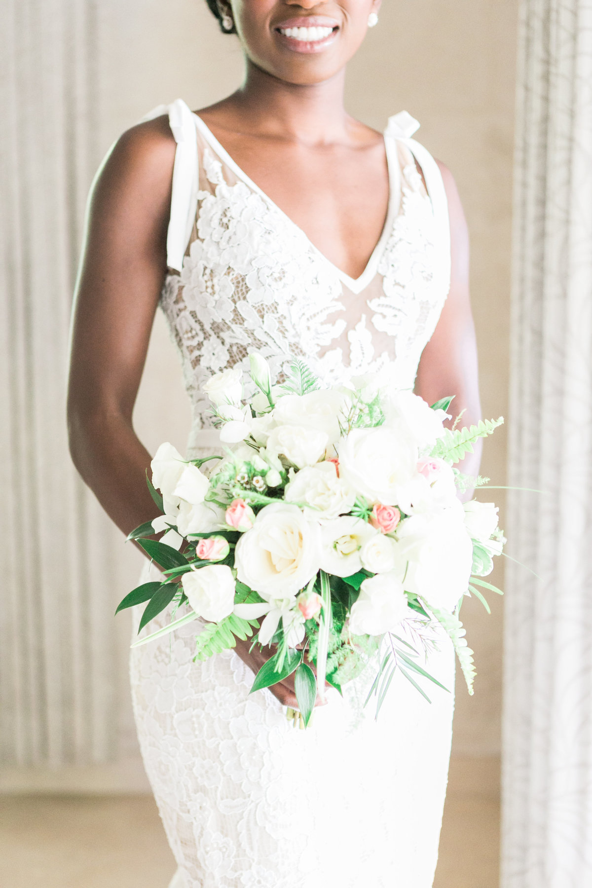 Bouquet and lace wedding gown, fine art wedding photography