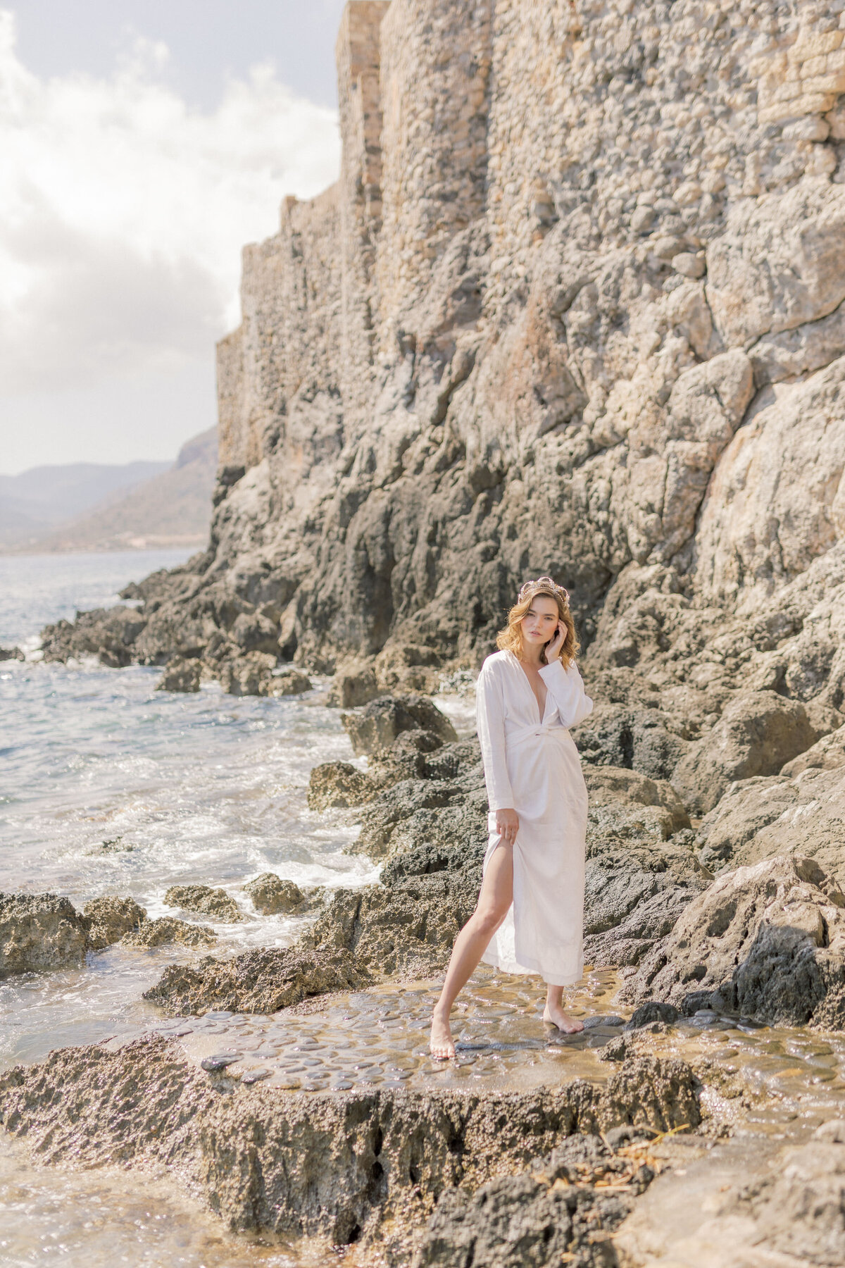 Beach Bridal Portrait Editorial Photoshoot in Greece 2