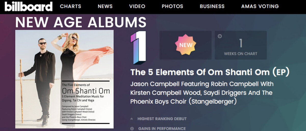 Billboard Chart Announcement Number One New Age Album Om Shanti Om Jason Campbell featuring Robin Cambell standing in desert wearing sunglasses on CD cover text placed beside