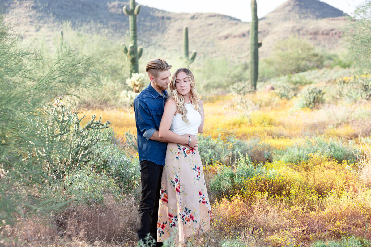 desert wildflower engagement