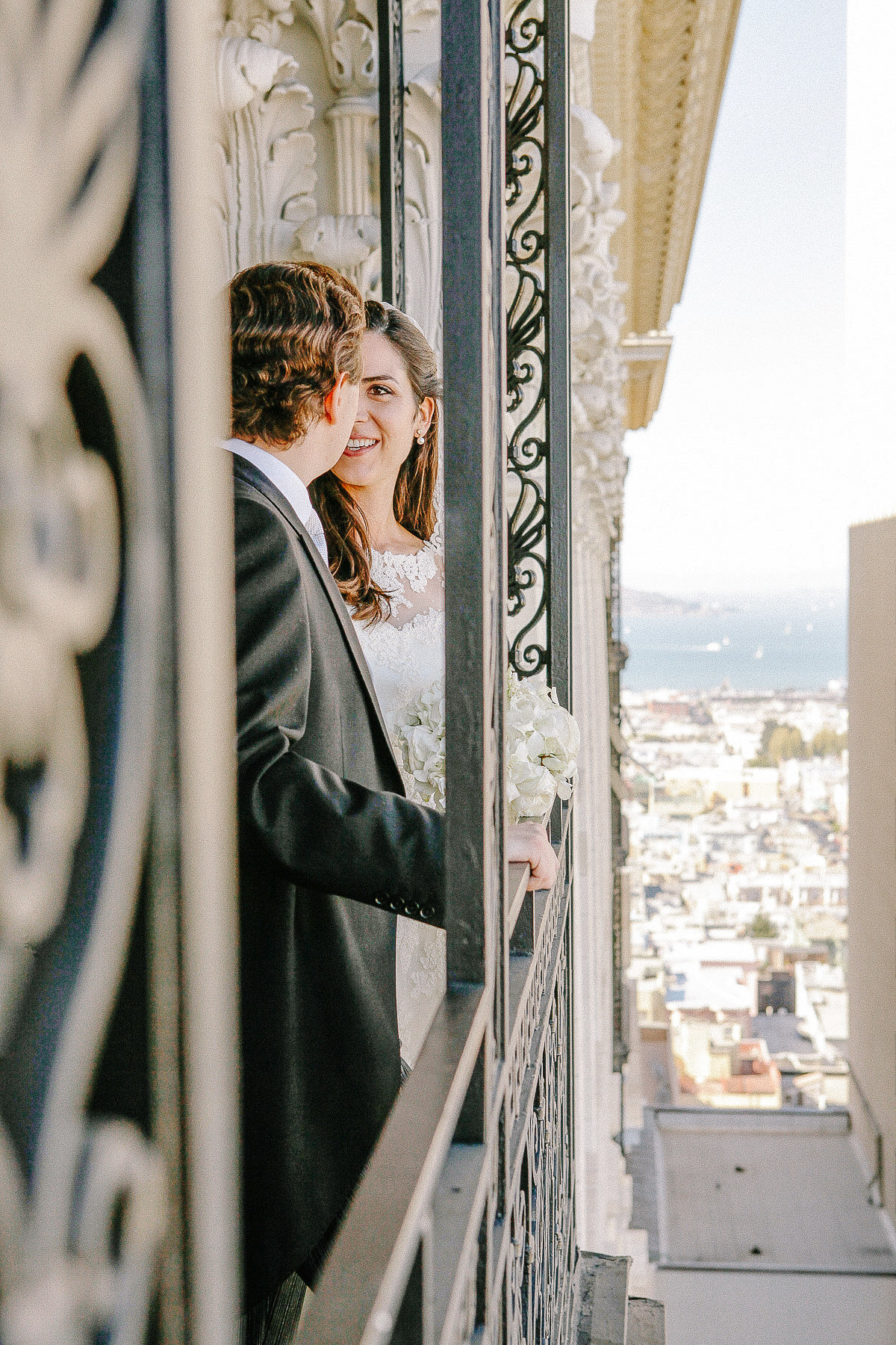 A couple at their wedding at the Fairmont Hotel in San Francisco.