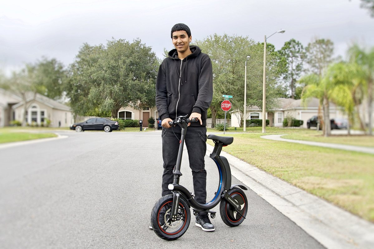 High school Student with his Go-Bike Q1