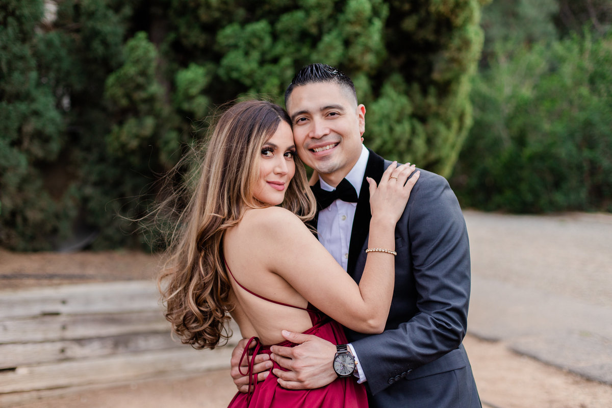UC Riverside Botanical Gardens, Engagement Photography, Riverside Phototgrapher, Garden Engagement, Couple Photography, Red Dress-79
