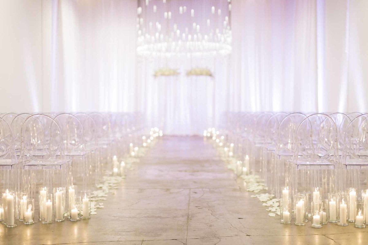 All white wedding ceremony at Canvas Seattle