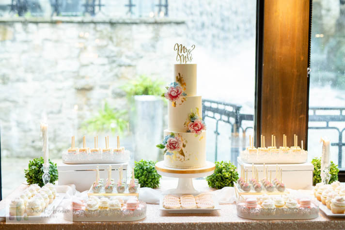 elegant sweet table - Ancaster Mill wedding