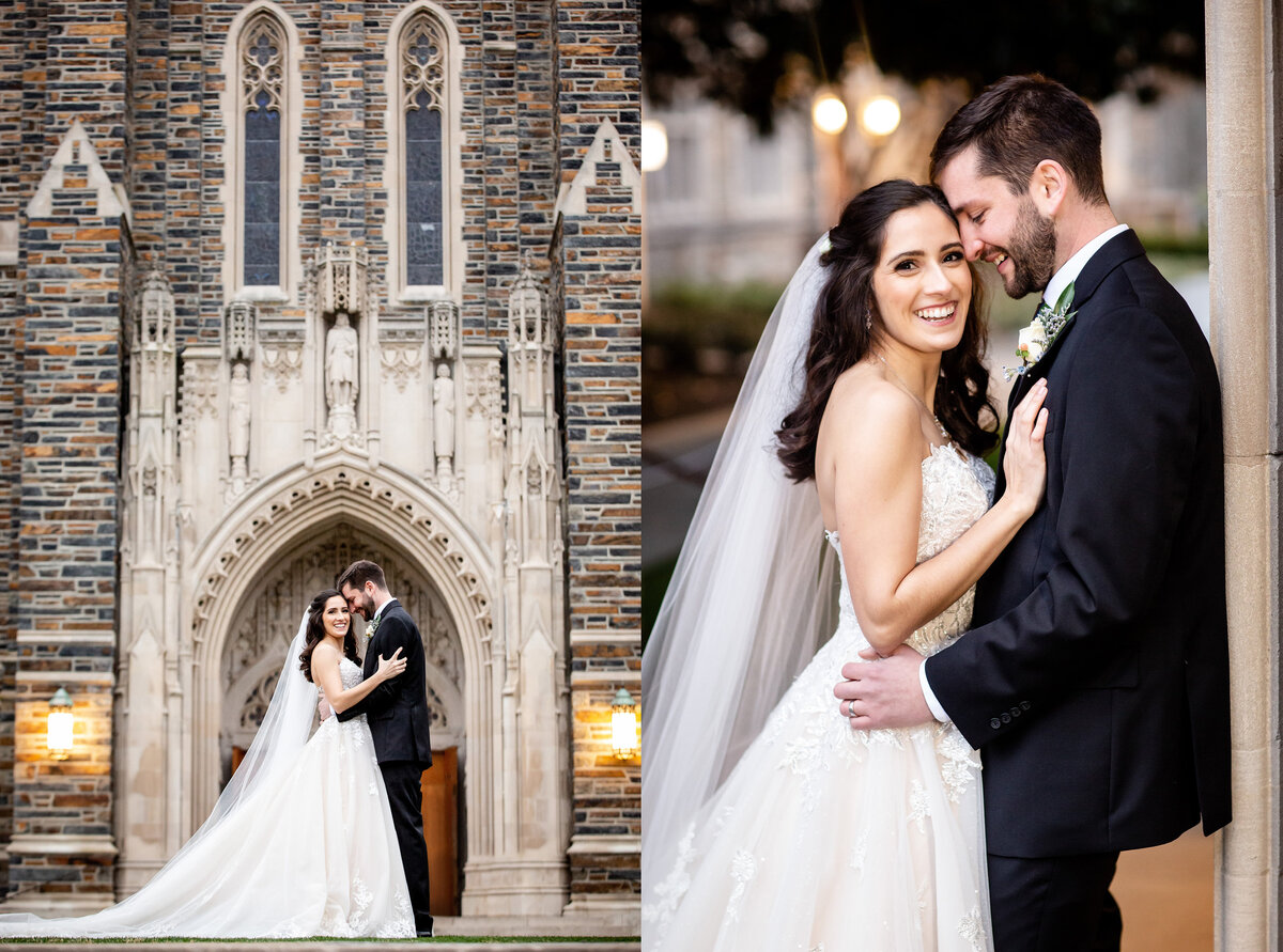 Bride and groom portraits at Duke University Chapel
