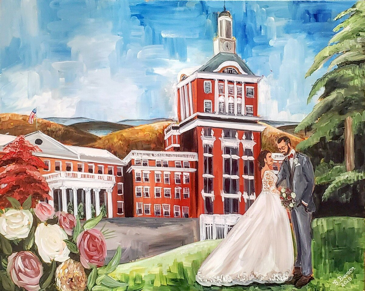 Live wedding painting of a bride and groom outside of the Omni Homestead Resort in Hot Springs Virginia
