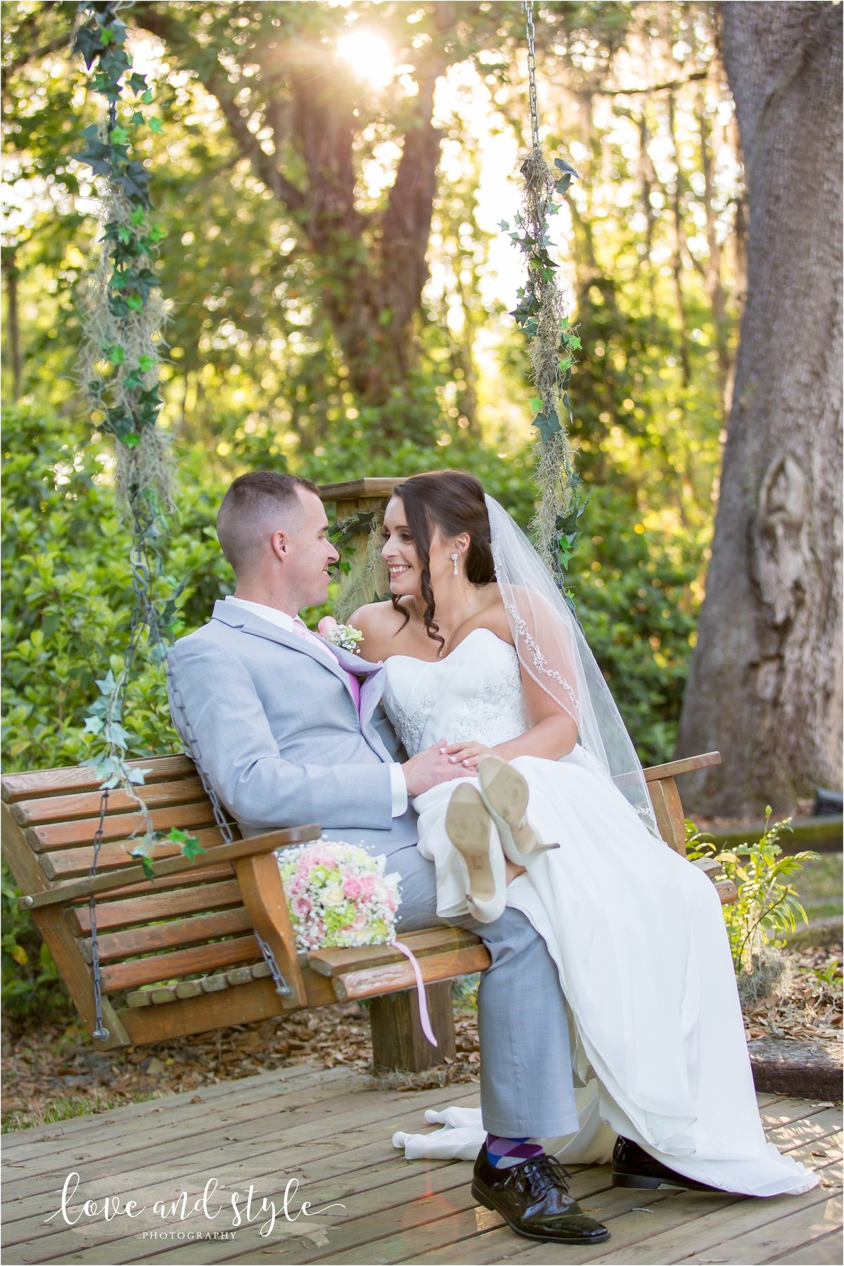 Bakers Ranch Florida  Wedding Photography, Bride and Groom on a tree swing