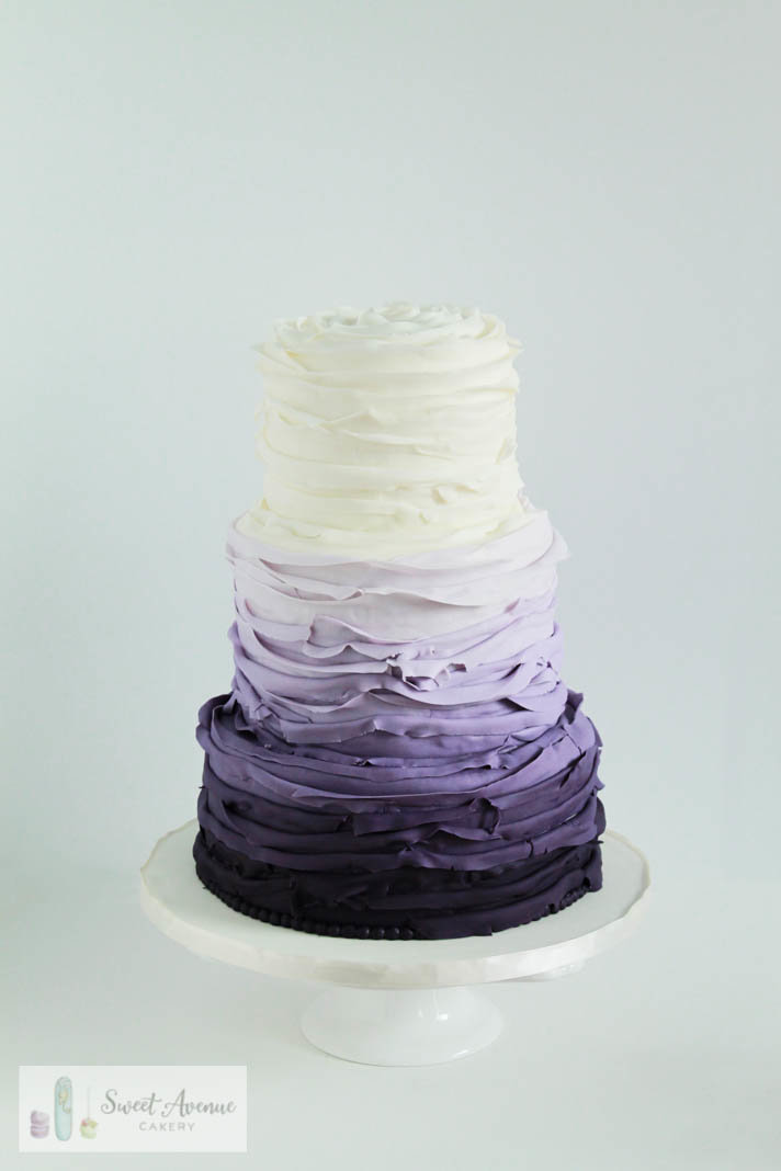 purple ombre fondant ruffles wedding cake, wedding cakes Hamilton ON