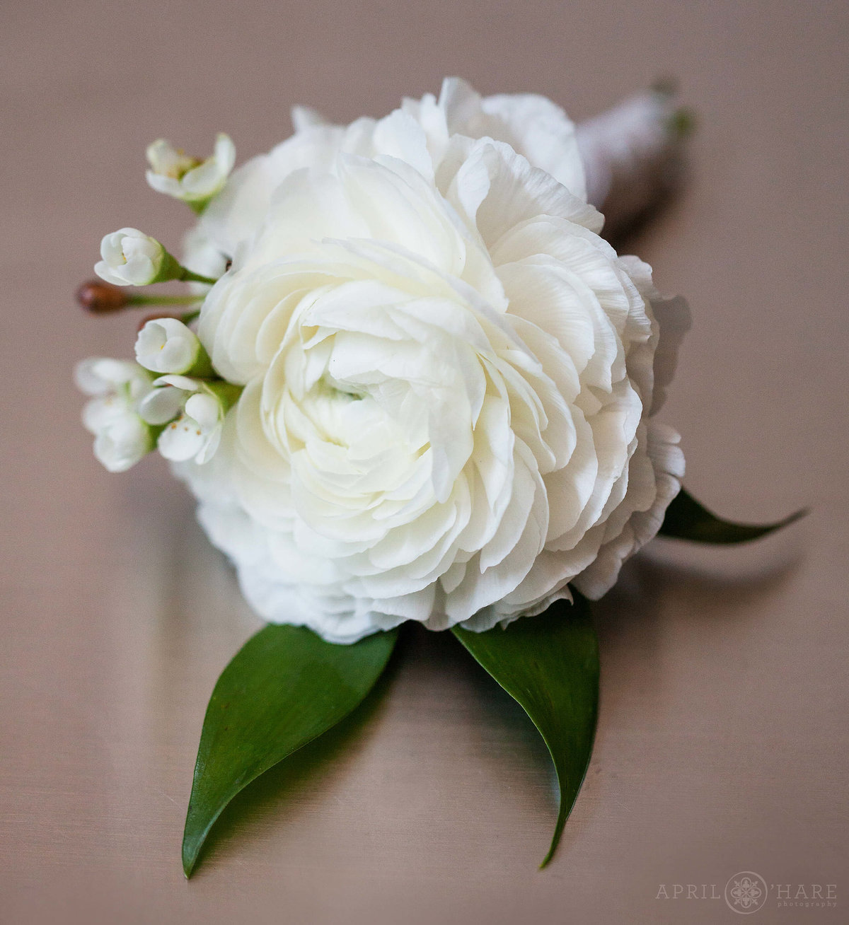Pretty White Boutonniere from Crawford Hotel Union Station Denver CO