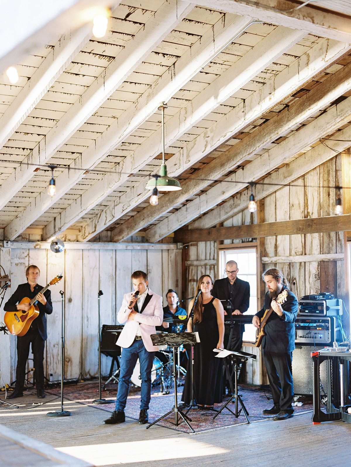 Band in a barn wedding reception