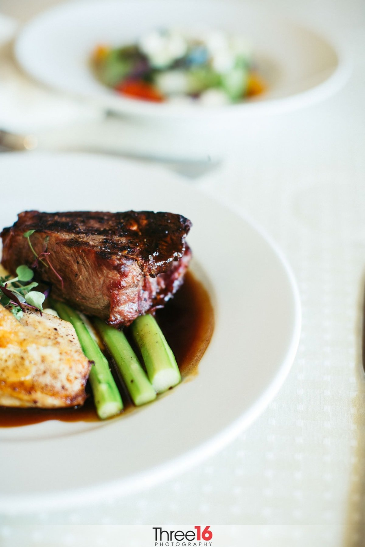 Steak and Asparagus is served at this wedding reception