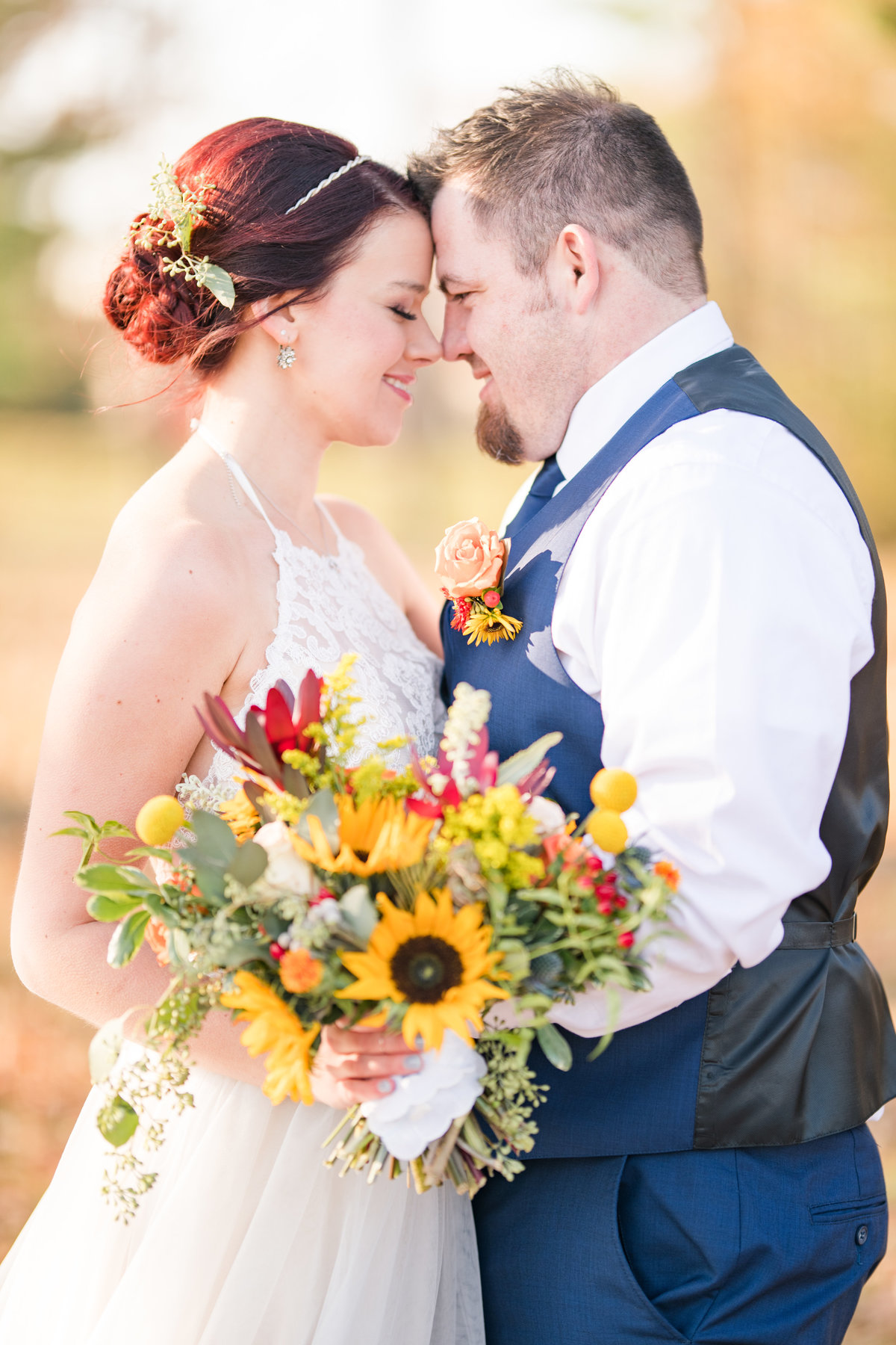Couple Portraits Wedding Brewery Cincinnati Ohio Colorful Flowers-26