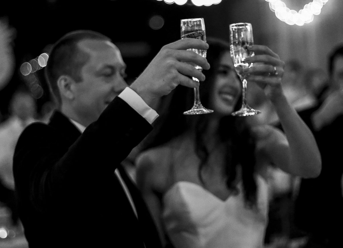bride and groom toast their guests at Spirit Pittsburgh wedding reception
