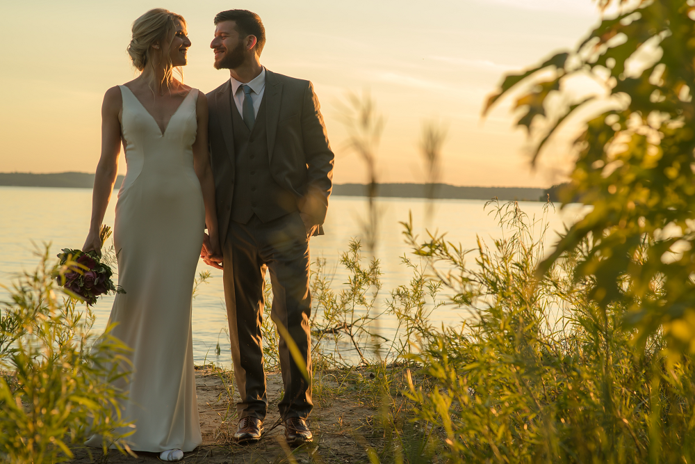 DESTINATION WEDDING IN TRAVERSE CITY WITH KRISTEN AND SCOTT Bride and Groom at Sunset