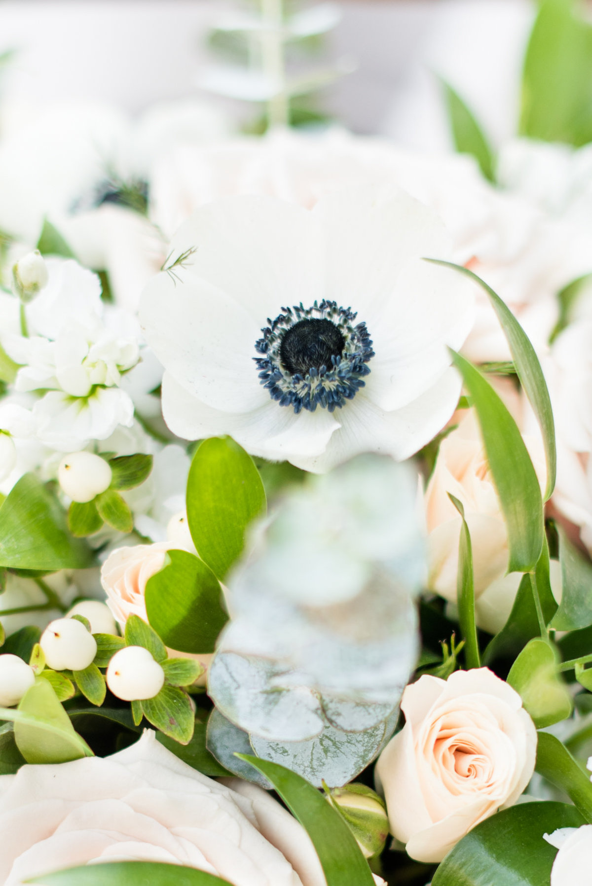 Close up of anemone, part of a bouquet designed by Velvet Rope Floral