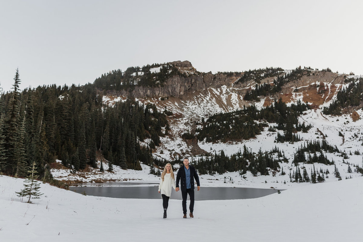Snowy Mount Rainier Engagement Photos-33