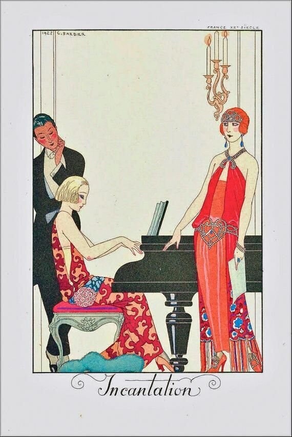 ART DECO Flapper PRINT From Original by Georges Barbier with Flapper and Couple at Piano