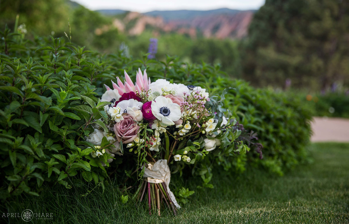 Beautiful purple and pink bridal bouquet at Arrowhead Golf Club by Project Floral in Denver CO