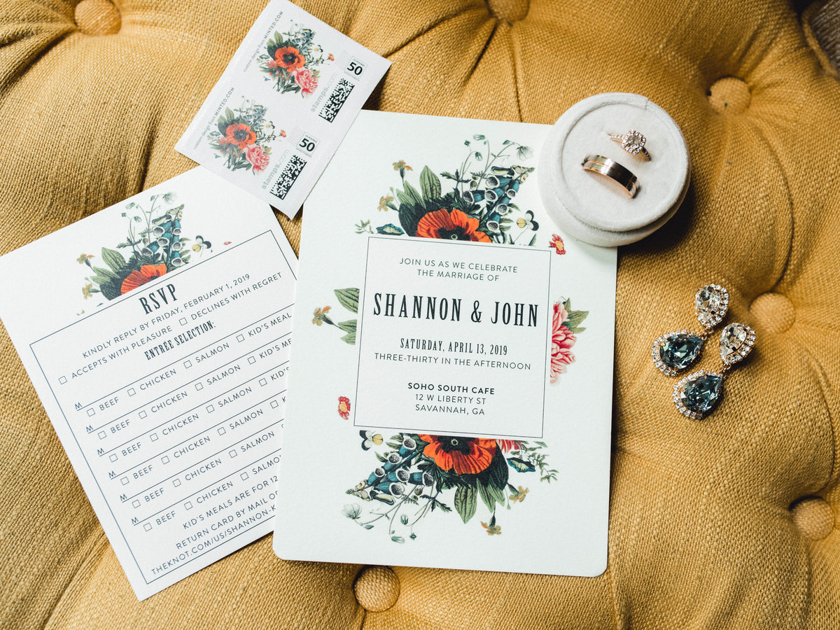 Bridal details earrings ring invitation suite