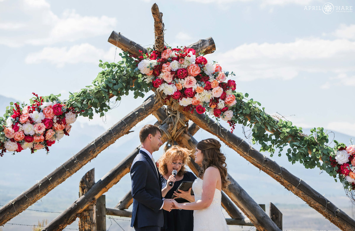 Pretty floral arch from a Silverthorne Colorado Mountain wedding Ceremony