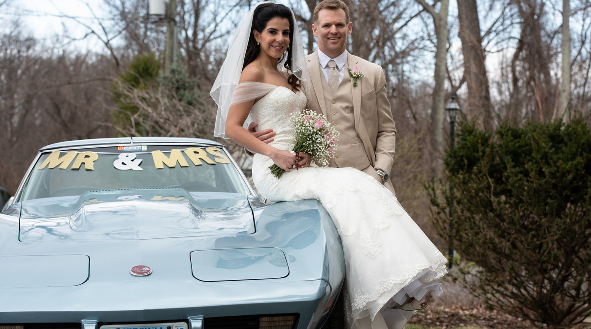 Bride and Groom with Chevy Corvette West Virginia