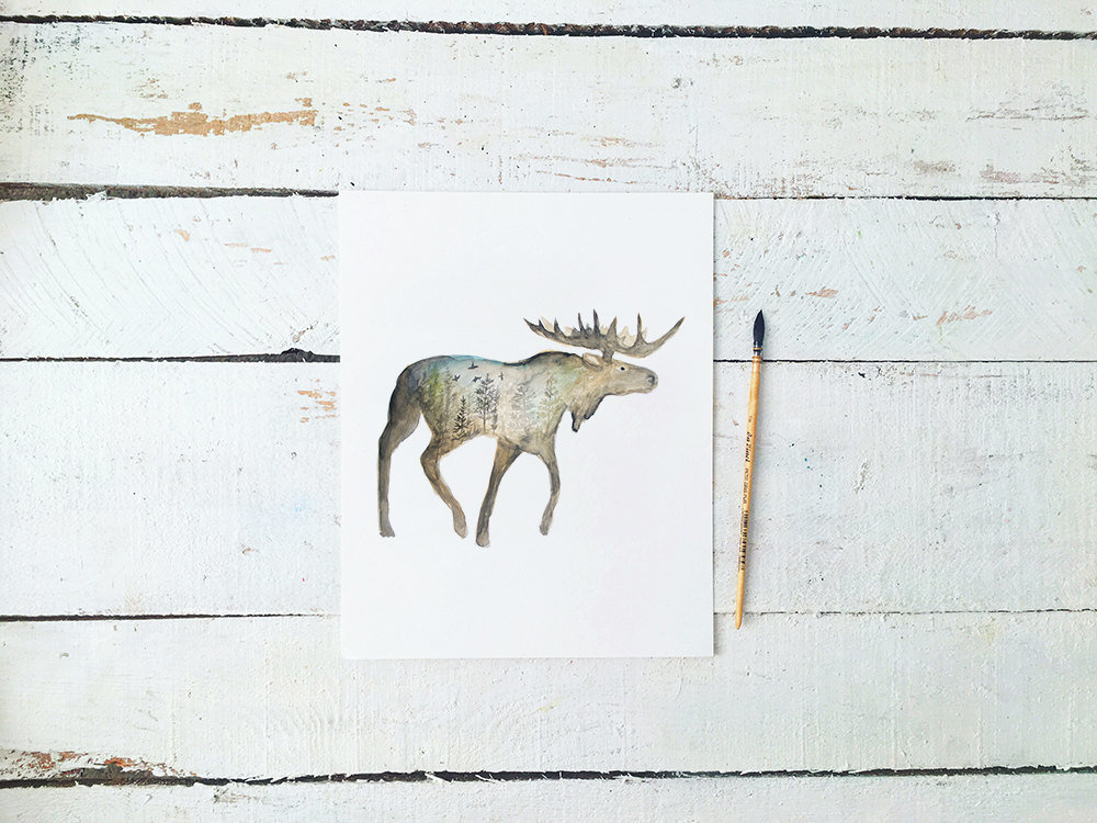 Galaxy_Moose_Forest_Profile_Mountain_Night_Printable_Artwork_-_Animal_Nursery_-_Watercolor_-_Norther-490880090-_4