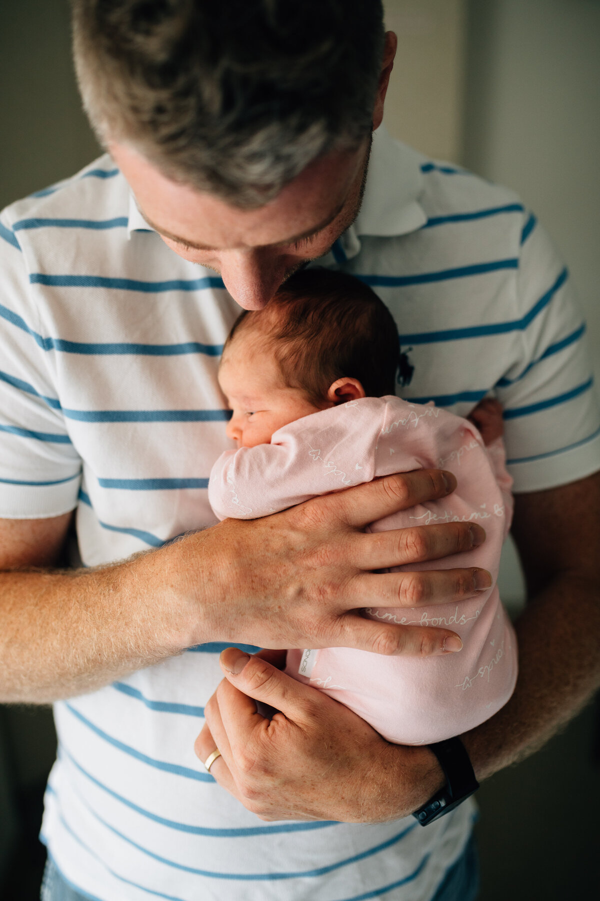 dad holding baby to chest hospital Fresh 48 photography Melbourne And So I Don't Forget Photography