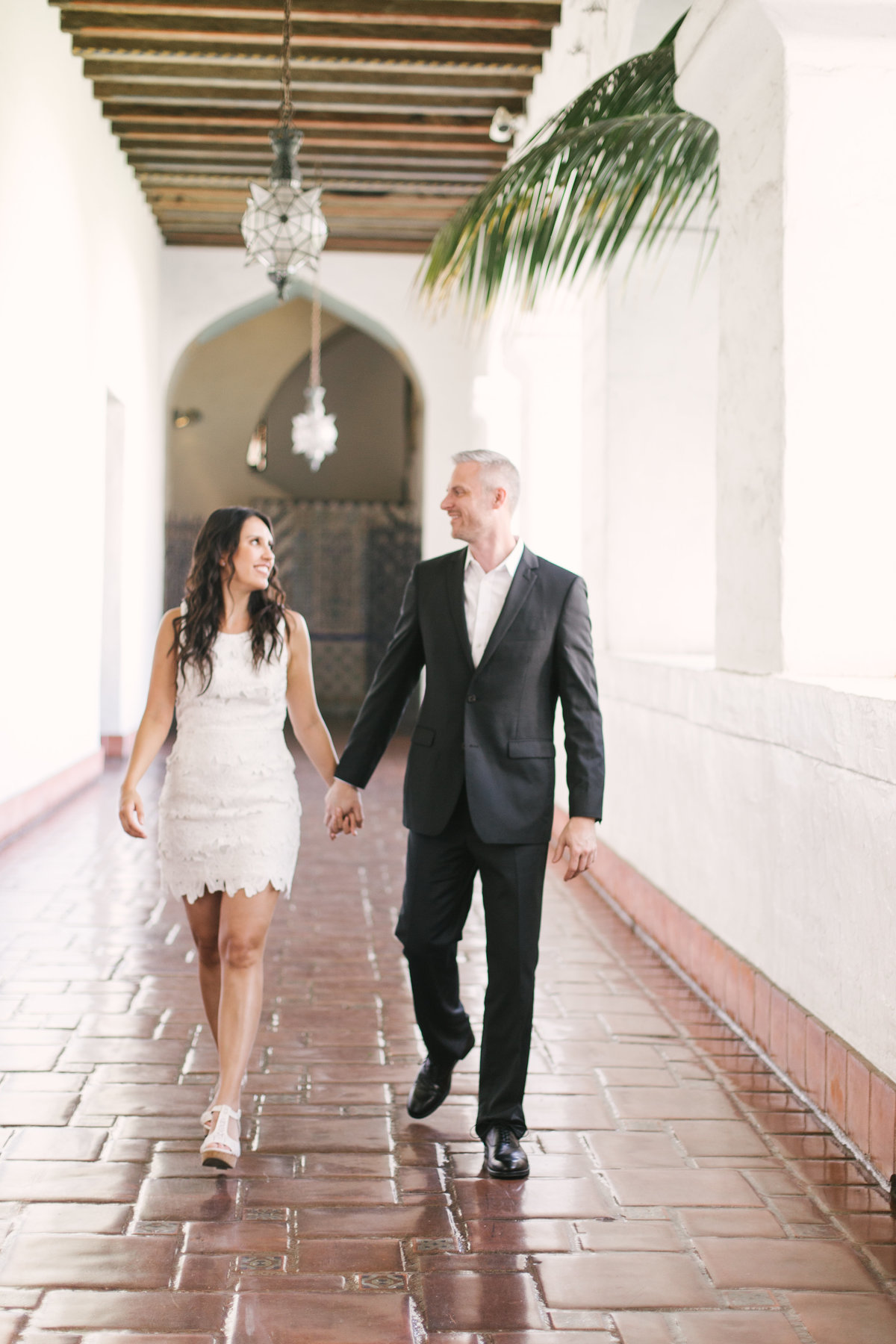 Bride and groom exit after Santa Barbara Courthouse Wedding