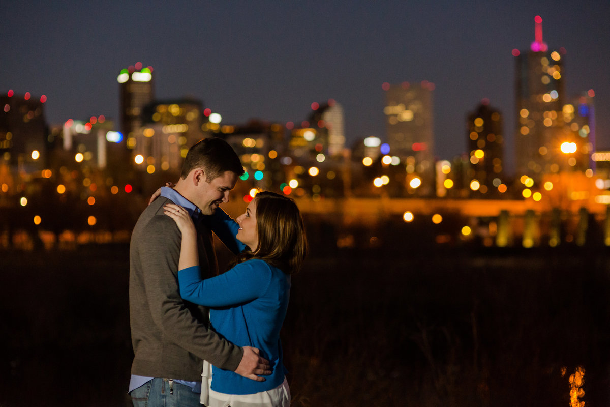 night downtown denver engagement photos