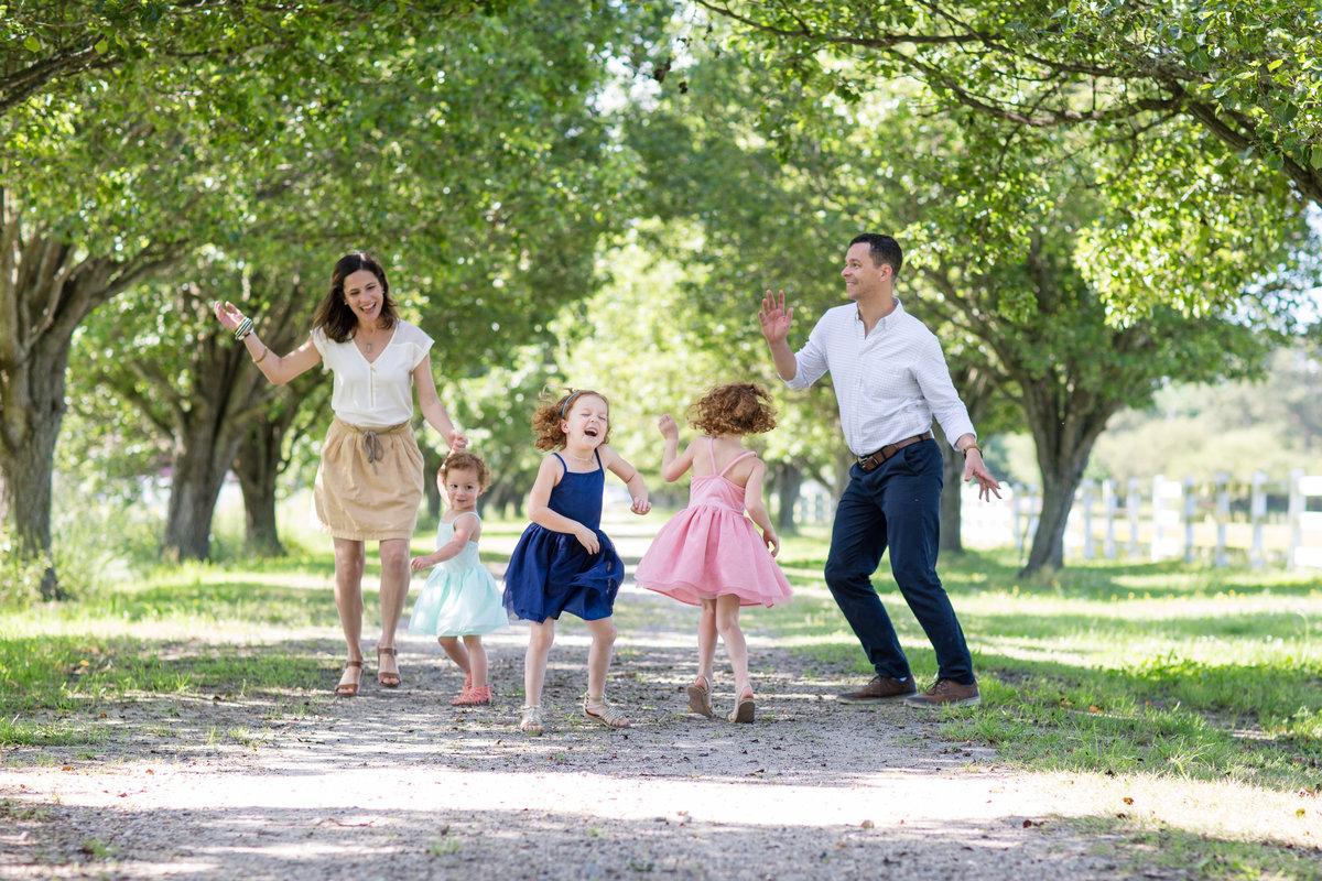 family dancing in photo