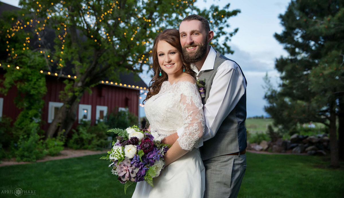 Denver Botanic Gardens Chatfield Farms Colorado Wedding Portrait with Rustic Barn Backdrop