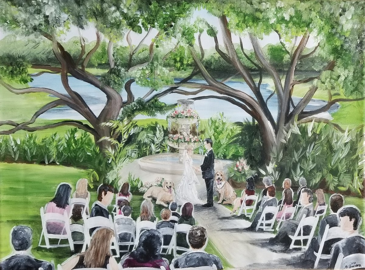 Wedding ceremony at Mission Inn Resort Golf Course outside of Orlando Florida