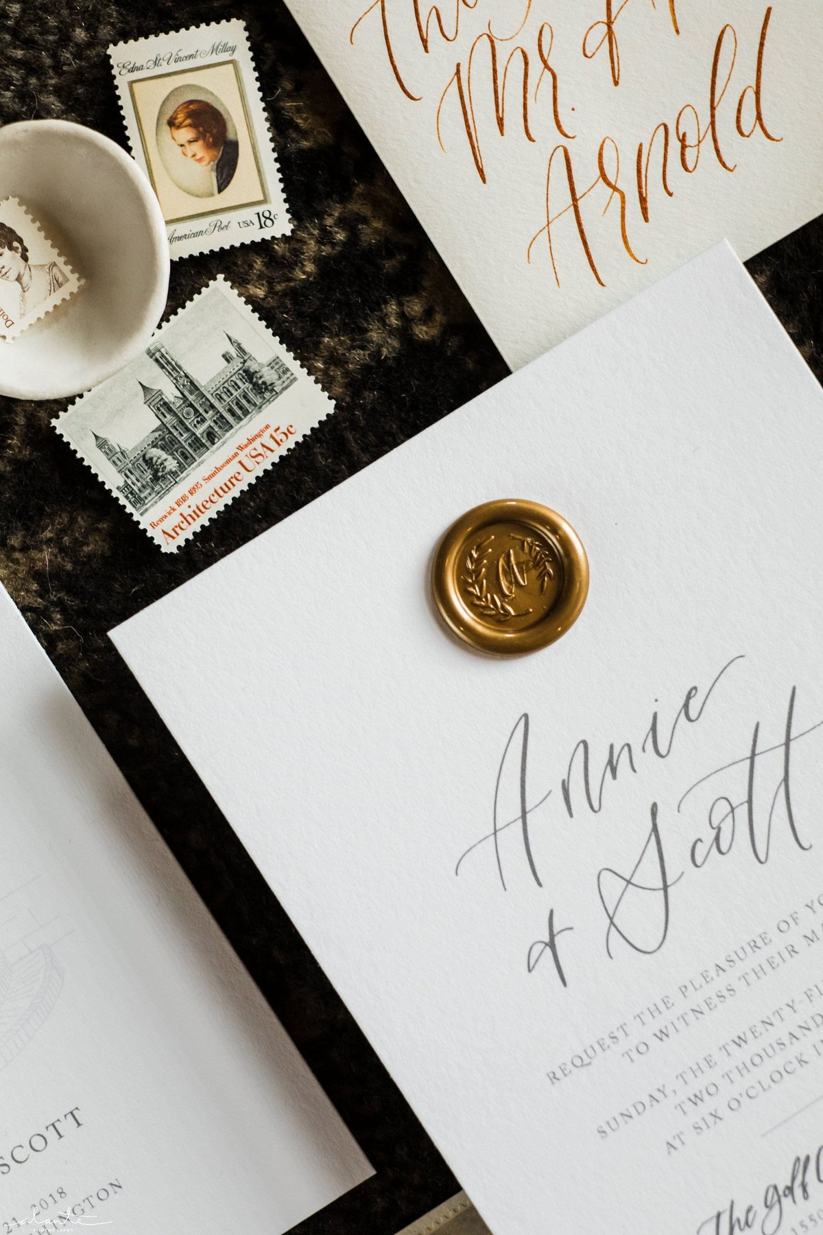 wax seal wedding invitation modern