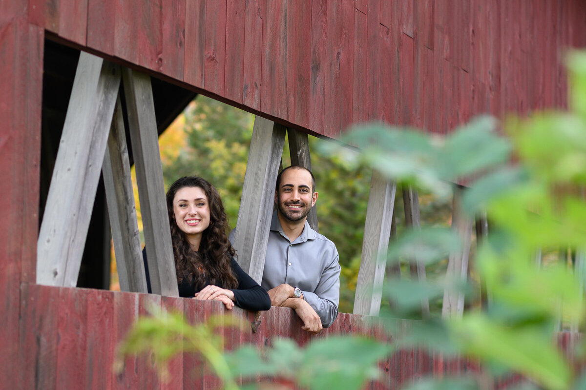 covered bridge engagement photo