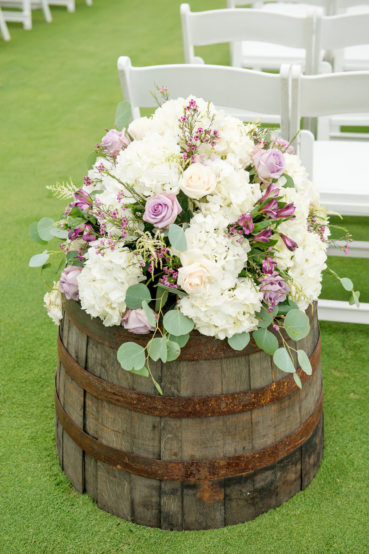 flowers and decoration from wedding ceremony at Willow Creek Golf and Country Club