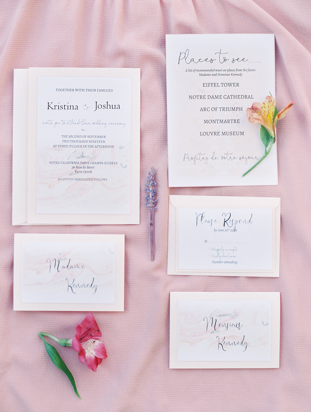 Invitations with matte backing