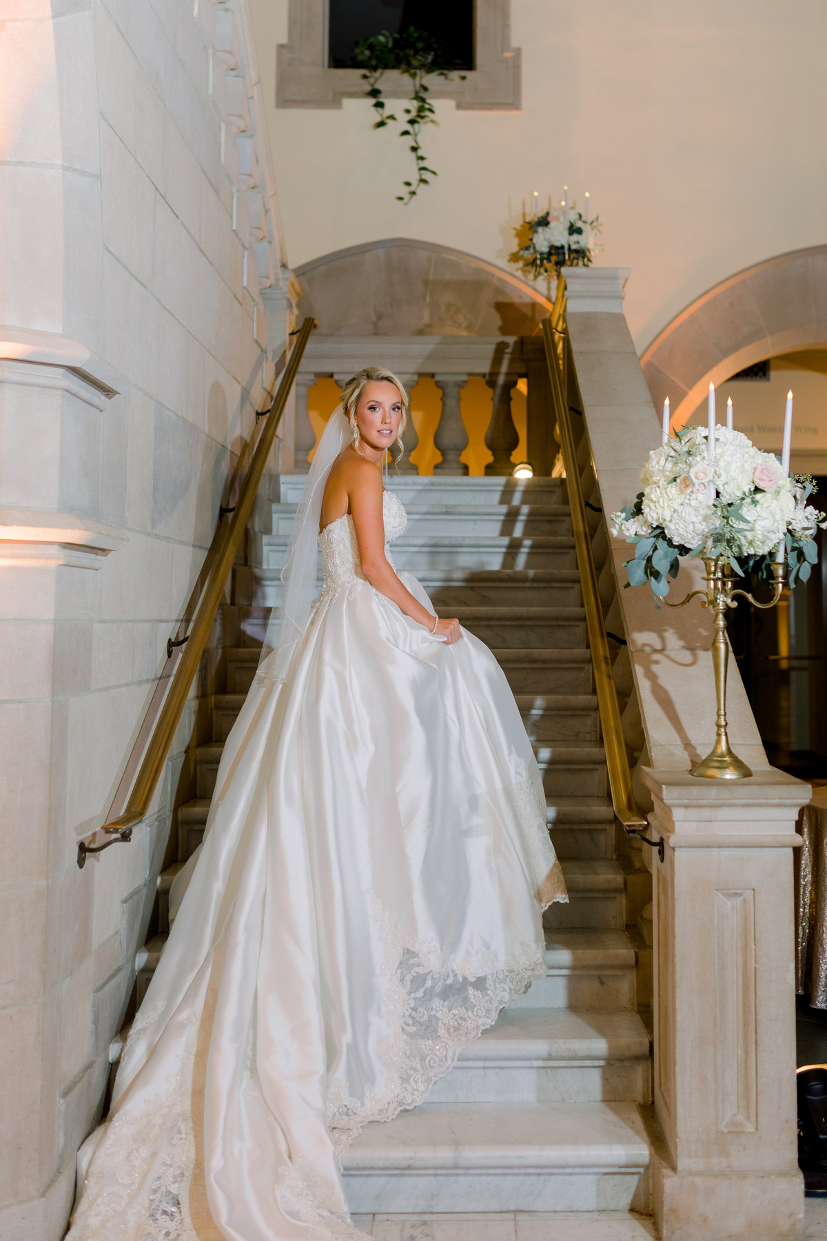Washington DC Wedding Photography, bride walking up stairs