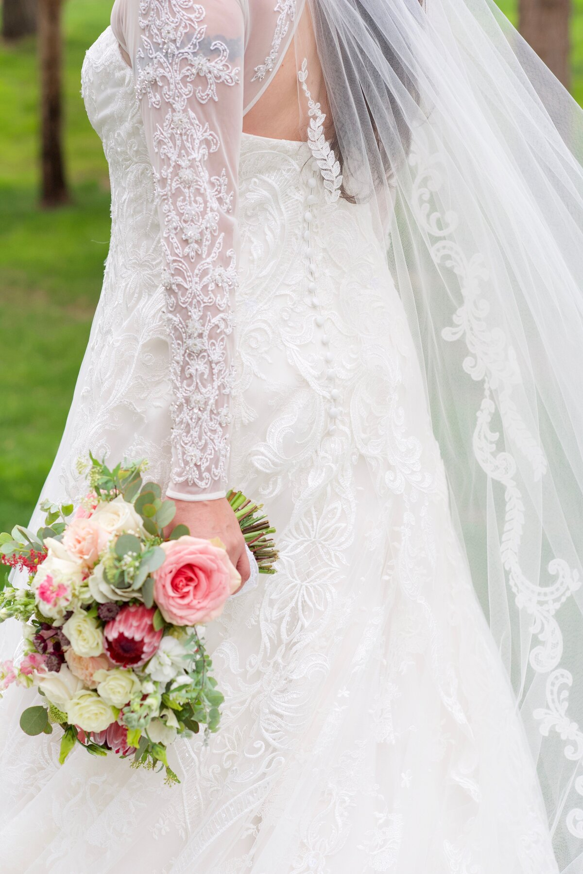 bride with a lace dress