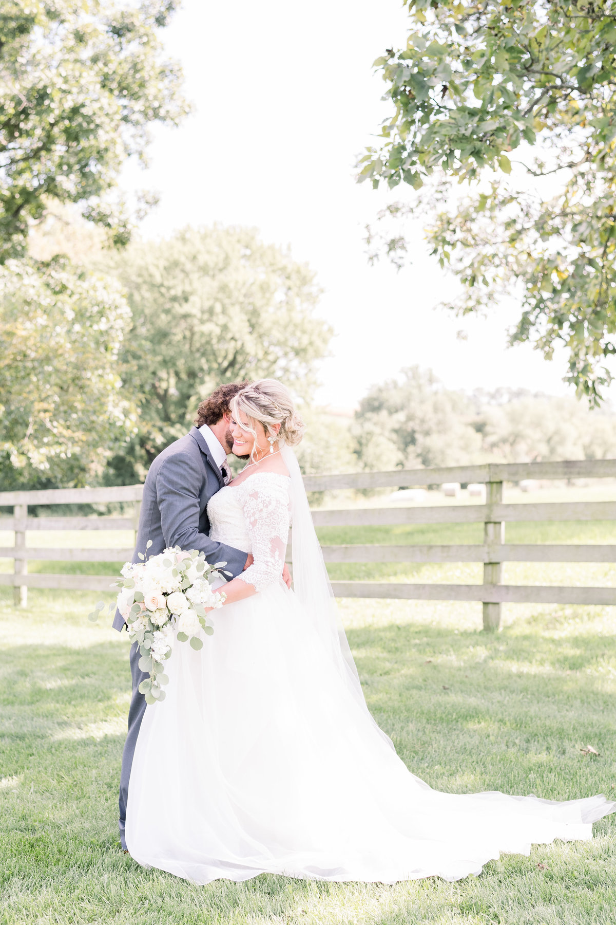 bride and groom at ardon creek winery Letts Iowa