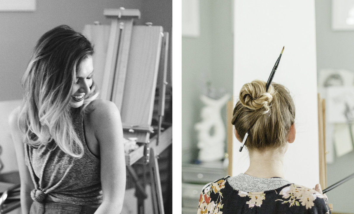 two pictures of anna canfield laughing in her studio and with a paintbrush in her hair