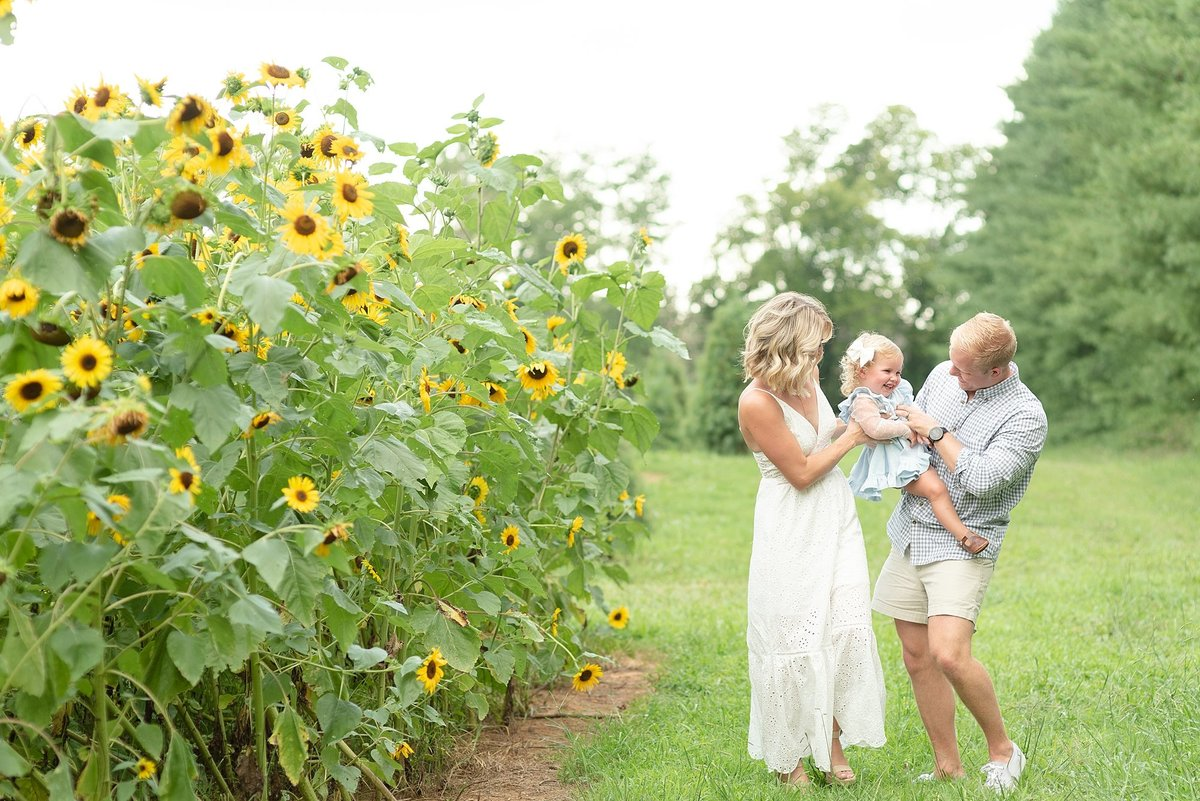 Family of Three laughing together during sunflower field session Father is tickling daughter to make her laugh for portraits