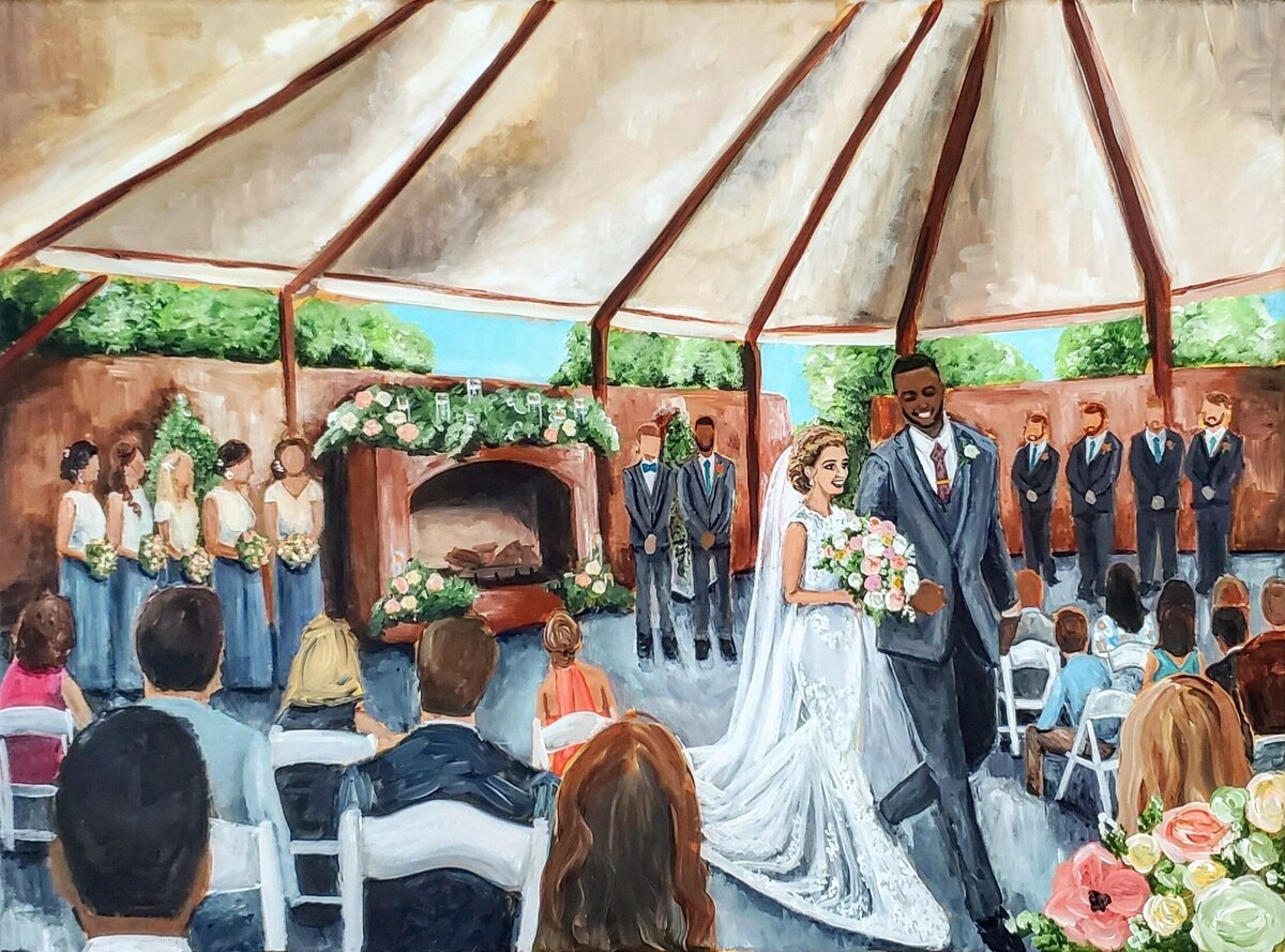 Live wedding painting of a bride and groom walking up the aisle during their wedding ceremony at the Tidewater Inn in Easton Maryland