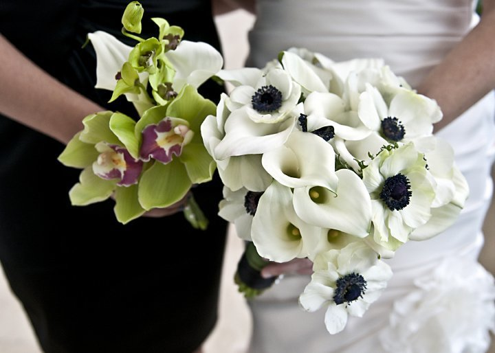 White anemone green cymbidium orchid wedding