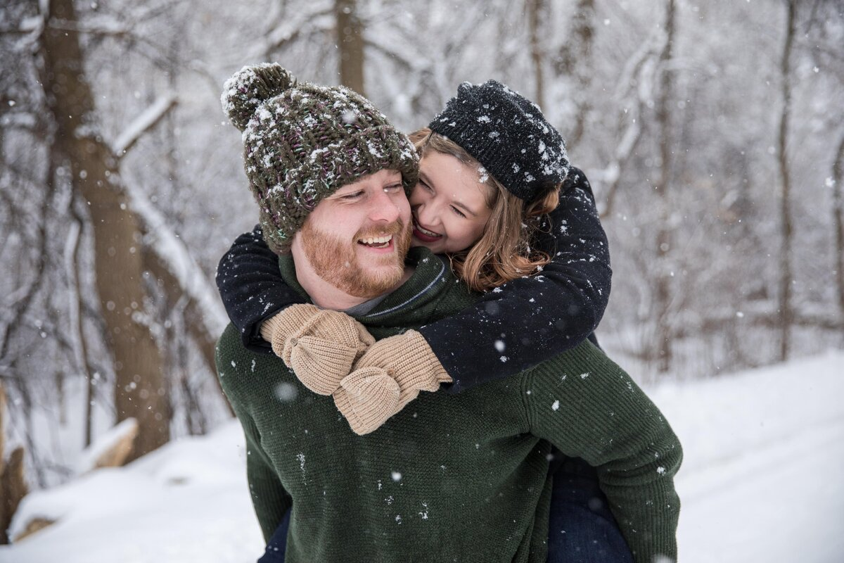 Madison WI Snowy Engagement